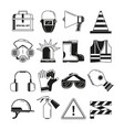 safety work security symbols monochrome vector image