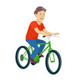 a young boy riding a bicycle on a vector image vector image