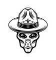alien head in boy scout hat vector image vector image