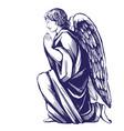 angel prays on his knees religious symbol vector image