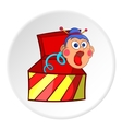 Box with jumping toy icon cartoon style vector image vector image