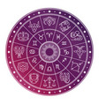 bright and white astrology horoscope circle with vector image vector image