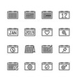 calendar related icon set vector image vector image