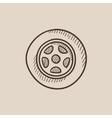 Car wheel sketch icon vector image vector image