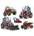 cartoon red bulldozer offroad truck quad motorbike vector image