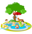 children swimming in swimming pool vector image vector image