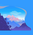 climbing on mountain squad three mountaineer vector image vector image