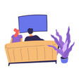 couple watching film at home man and woman on vector image