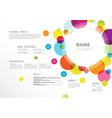 creative simple cv template with colorful circles vector image vector image