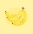 cute banana bunch fruit cartoon vector image