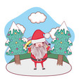 cute christmas santa claus with tree in the vector image vector image