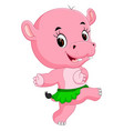 cute hippo dancing vector image vector image
