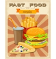 Fast Food Retro Style Poster vector image vector image