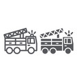 fire truck line and glyph icon transport and vector image vector image