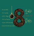 floral card with number eight and pocket watch vector image vector image
