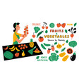 fruits and vegetables funny doodle set cute vector image