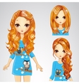 Girl In Blue Dress And Collection Of Hairstyles vector image vector image