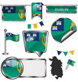 glossy icons with flag of dublin vector image
