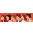 group young man and woman looking one direction vector image vector image