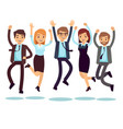 happy and smiling workers business people jumping vector image vector image