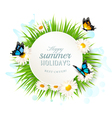 Happy summer holidays banner with grass and vector image vector image