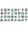 highway construction icons set flat vector image vector image