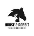 horse and rabbit head logo vector image vector image