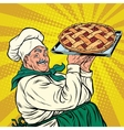joyful retro cook berry pie vector image vector image
