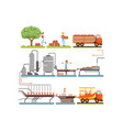 juice production process stages factory producing vector image