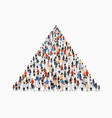 large group people in shape pyramid vector image vector image
