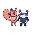 little panda and squirrel cartoon character vector image vector image