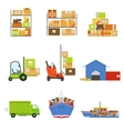Logistics And Delivery Related Set Of Objects vector image vector image