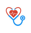 love heart stethoscope medical logo icon vector image vector image