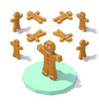 low poly gingerbread man vector image vector image