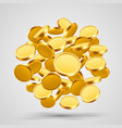 many flying coins in the form of a ball vector image vector image