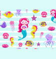 mermaid pattern seamless vector image vector image