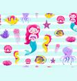 mermaid pattern seamless vector image