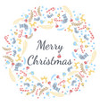 merry christmas greeting card with wreath vector image