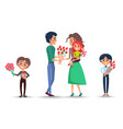 parents and children celebrate womens day set vector image vector image