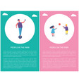 people in park poster kids play ball man on segway vector image
