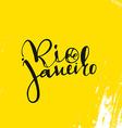 Rio de Janeiro inscription on a yellow background vector image
