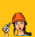 sad woman electrician professional vector image