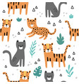 seamless pattern cute jungle cats vector image vector image