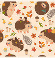 seamless pattern with autumn hedgehogs vector image