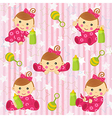 seamless pattern with baby girl vector image