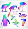 Set of Colorful Geometric Silhouettes Birds vector image