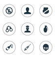 set of simple crime icons vector image vector image
