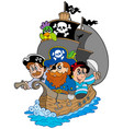 ship with various cartoon pirates vector image