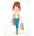 Shopaholic brunette girl goes with paper bags vector image vector image