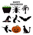 silhouettes set for halloween party vector image vector image